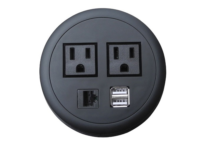 Smart Circular Electrical Outlet , AC Round Electrical Outlet For Conference Table