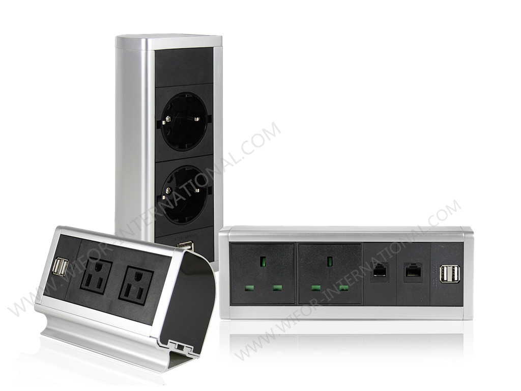 110 - 250V Aluminum Edge Desk Mountable Power Strip Silver Or Black Color